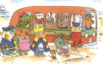 """Illustration: Richard Scarry's """"Busytown"""" bus with passengers"""